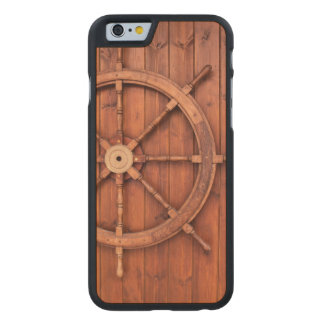 Nautical Ships Helm Wheel on Wooden Wall Carved® Maple iPhone 6 Slim Case
