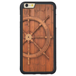 Nautical Ships Helm Wheel on Wooden Wall Carved® Maple iPhone 6 Plus Bumper Case