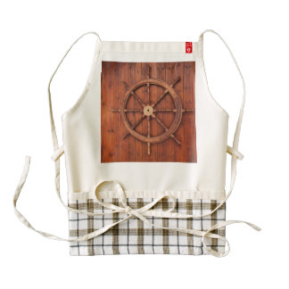 Nautical Ships Helm Wheel on Wooden Wall Zazzle HEART Apron