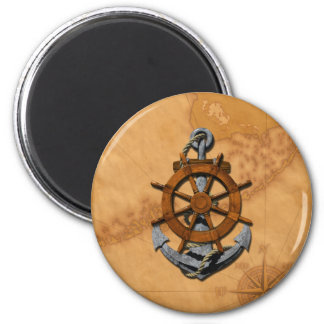 Nautical Ships Wheel And Anchor 2 Inch Round Magnet