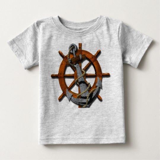 Nautical Ships Wheel And Anchor Baby T-Shirt