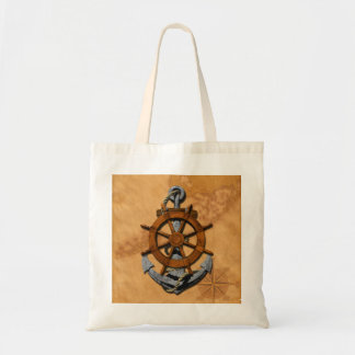 Nautical Ships Wheel And Anchor Tote Bags