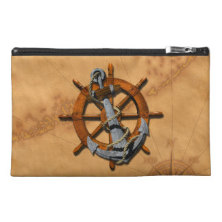 Nautical Ships Wheel And Anchor Travel Accessories Bags