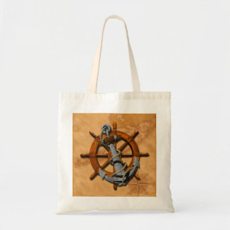 Nautical Ships Wheel And Anchor Bag