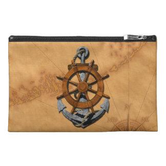 Nautical Ships Wheel And Anchor Travel Accessory Bag