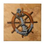 "Nautical Ships Wheel And Anchor Ceramic Tile<br><div class=""desc"">Classic vintage ship&#39;s helm and anchor over a vintage style nautical map of the Florida Keys.</div>"