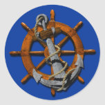 Nautical Ships Wheel And Anchor Classic Round Sticker