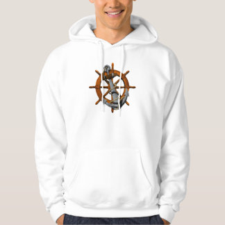 Nautical Ships Wheel And Anchor Hoodie