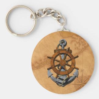 Nautical Ships Wheel And Anchor Keychain