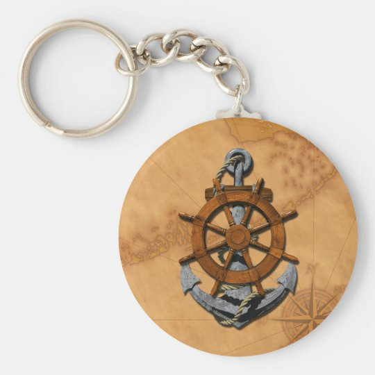 Nautical Ships Wheel And Anchor Keychain