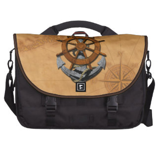 Nautical Ships Wheel And Anchor Bag For Laptop