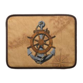 Nautical Ships Wheel And Anchor MacBook Sleeve
