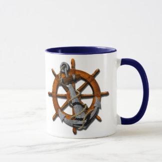 Nautical Ships Wheel And Anchor Mug