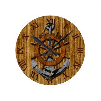 Nautical Ships Wheel And Anchor Round Clock