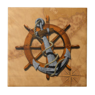 Nautical Ships Wheel And Anchor Small Square Tile