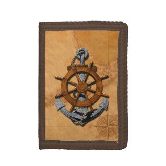 Nautical Ships Wheel And Anchor Tri-fold Wallet