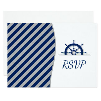 Nautical Ship's Wheel Photo RSVP Card