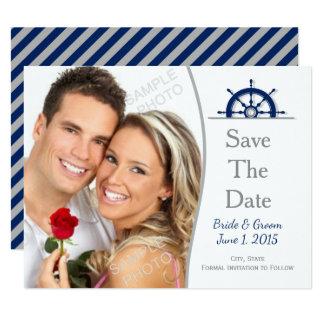 Nautical Ship's Wheel Photo Save The Date Card