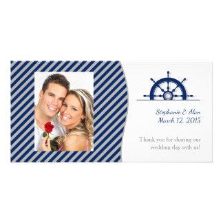 Nautical Ship's Wheel Photo Wedding Thank You Card