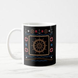 Nautical Ship's Wheel Ugly Christmas Sweater Mug