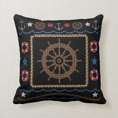 Nautical Ships Wheel Ugly Christmas Sweater Pillow