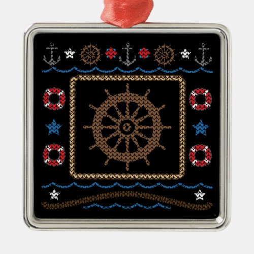 Nautical Ships Wheel Ugly Sweater Ornament