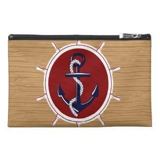 Nautical Ships Wheels Anchor on Wood Grain Travel Accessories Bag