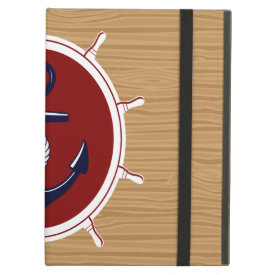Nautical Ships Wheels Anchor on Wood Grain iPad Covers