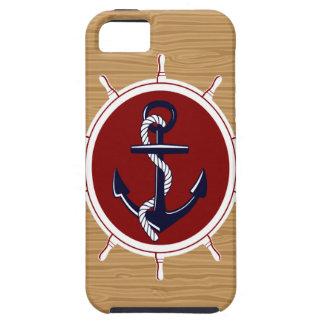 Nautical Ships Wheels Anchor on Wood Grain iPhone SE/5/5s Case
