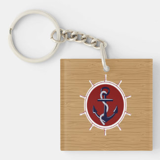 Nautical Ships Wheels Anchor on Wood Grain Double-Sided Square Acrylic Keychain
