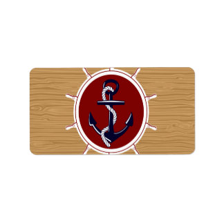 Nautical Ships Wheels Anchor on Wood Grain Personalized Address Label