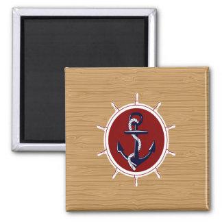 Nautical Ships Wheels Anchor on Wood Grain Refrigerator Magnet