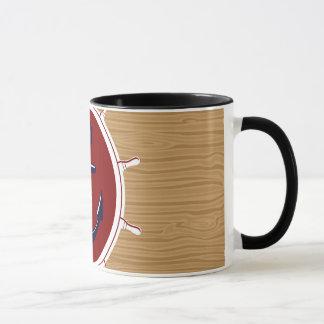 Nautical Ships Wheels Anchor on Wood Grain Mug