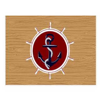 Nautical Ships Wheels Anchor on Wood Grain Postcard