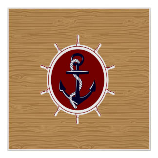 Nautical Ships Wheels Anchor on Wood Grain Poster