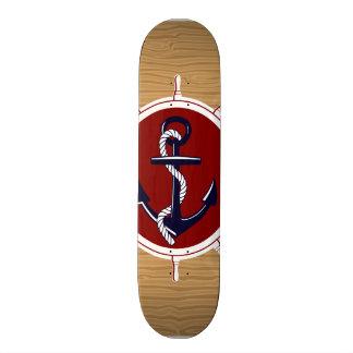 Nautical Ships Wheels Anchor on Wood Grain Skateboard