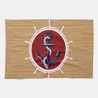 Nautical Ships Wheels Anchor on Wood Grain Towel