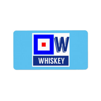 "Nautical Sign Flag Alphabet W ""Whiskey"" Label"