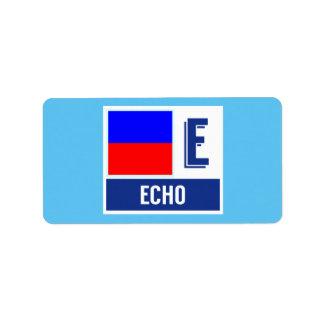 """Nautical Signal Code Flag Alphabet E """"Echo"""" Address Label"""