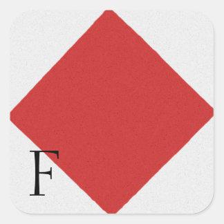 Nautical Signal Flag Alphabet Sticker F