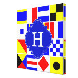 Nautical Signal Flags Royal Quatrefoil Monogram Gallery Wrap Canvas