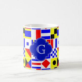 Nautical Signal Flags Royal Quatrefoil Monogram Classic White Coffee Mug