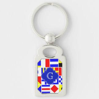 Nautical Signal Flags Royal Quatrefoil Monogram Keychain