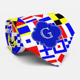 Nautical Signal Flags Royal Quatrefoil Monogram Neck Tie