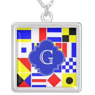 Nautical Signal Flags Royal Quatrefoil Monogram Square Pendant Necklace
