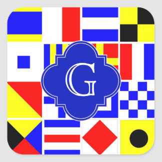 Nautical Signal Flags Royal Quatrefoil Monogram Square Sticker