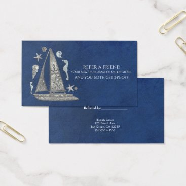 Beach Themed Nautical Silver Boat Beach Elegant Refer a Friend Business Card
