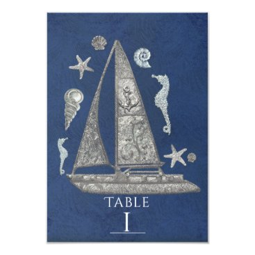 Beach Themed Nautical Silver Boat & Beach Table Number Cards