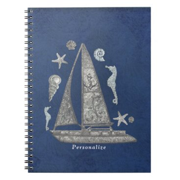 Beach Themed Nautical Silver Boat & Beach Things Elegant Chic Notebook
