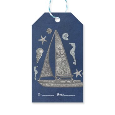 Beach Themed Nautical Silver Boat & Beach Things Elegant Favor Gift Tags